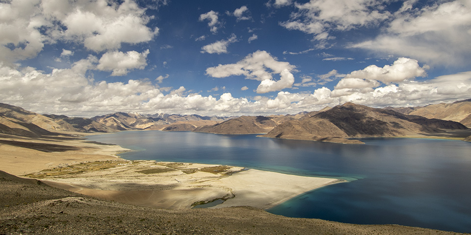 A bird's view of Pangong Lake in Ladakh